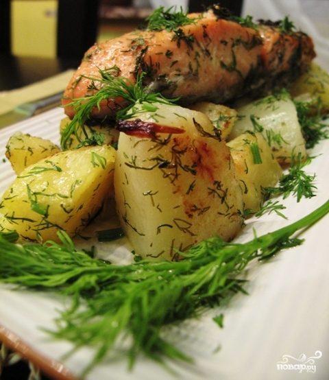 Семга с картошкой в мультиварке