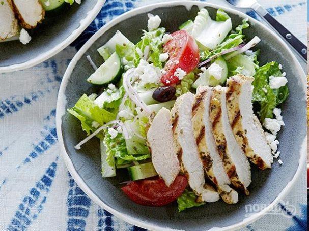 Салат греческий с курицей рецепт пошагово с фото
