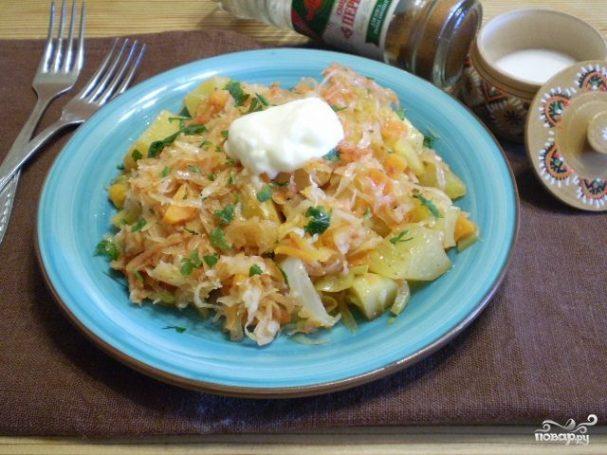 рецепт овощного рагу с капустой и мясом