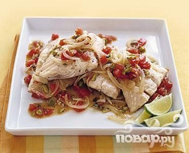 Рыба с оливками и помидорами