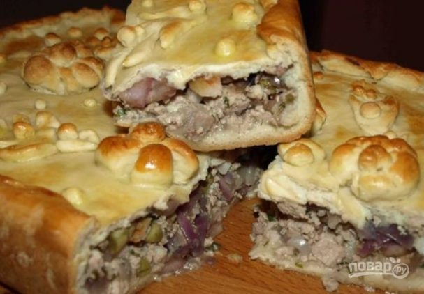 Пирог со свининой в духовке