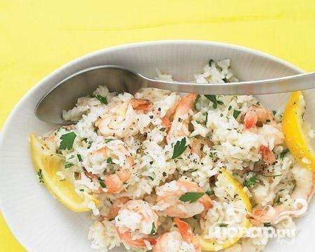 Креветки с лимоном и рисом
