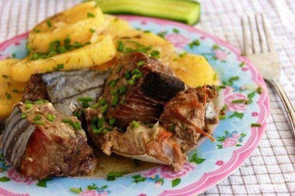 Рыба с картофелем запеченные в рукаве