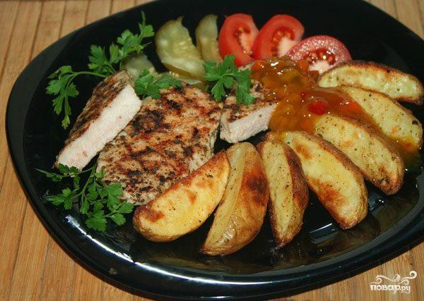 картошка по деревенски в духовке с мясом фото рецепт