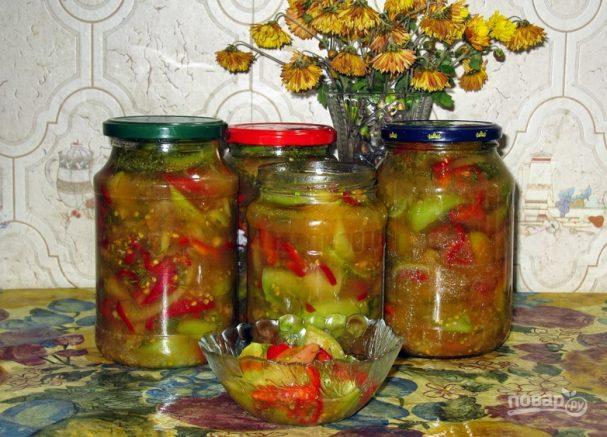 Салат с зелеными помидорами на зиму