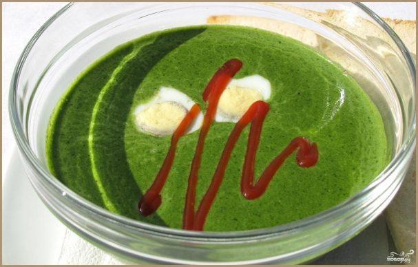 Суп-пюре зеленый из щавеля и шпината