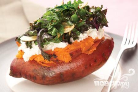 Сладкий картофель с кале и рикоттой