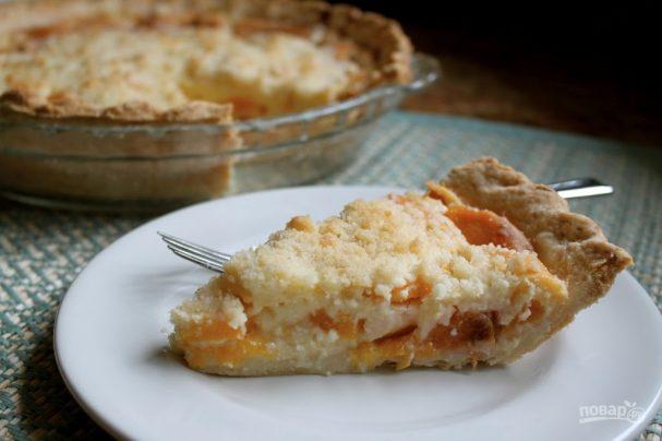 Пирог с персиками под сметаной