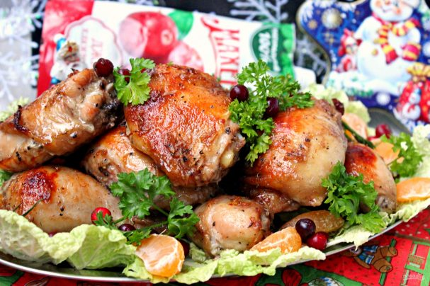 """Запеченные куриные окорочка в маринаде с клюквенным джемом """"Махеевъ"""""""