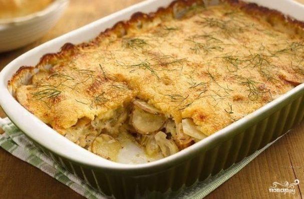Гратен из картофеля с курицей