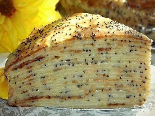 Блинный торт с заварным кремом и маком
