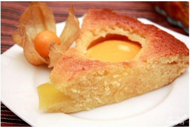 Пирог с консервированными персиками с пошаговым фото