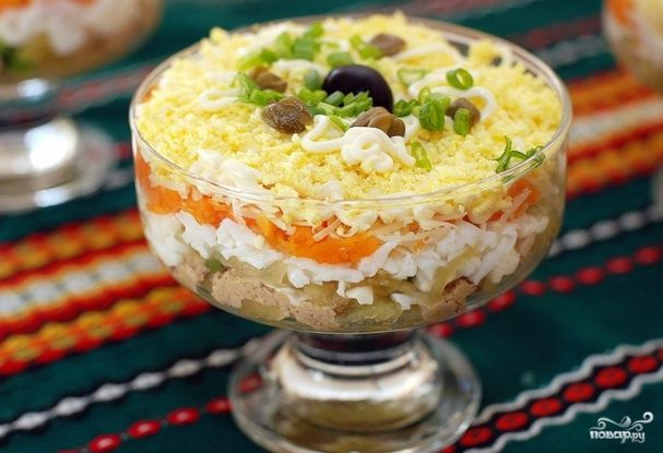 рецепт салат мимоза с печенью трески рецепт с фото