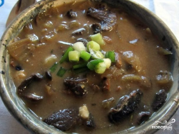 Грибной суп из сушеных белых грибов