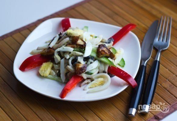 вкусный салат из кальмаров рецепт