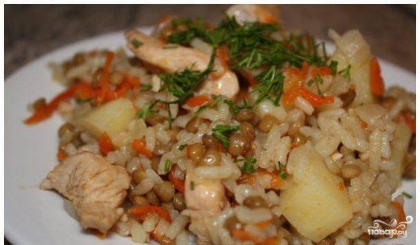Плов с чечевицей и рисом