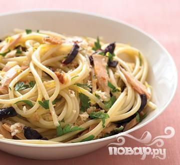 Спагетти с тунцом и лимоном