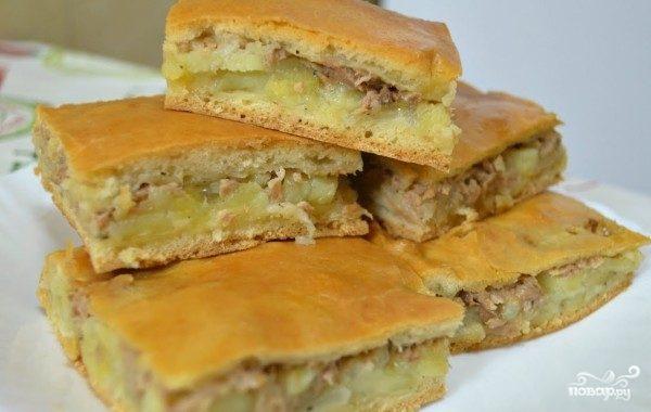 Творожный пирог с сайрой