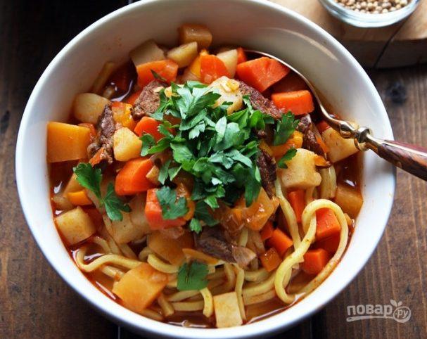 Пошаговое приготовление супа лагман