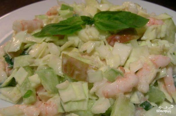 Салат из креветок и капусты