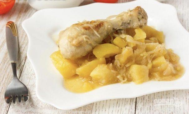 Тушеная квашеная капуста с картошкой