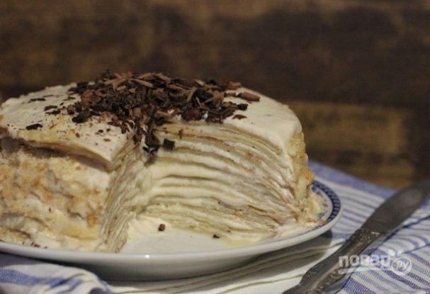 Блинный торт с сыром и бананами