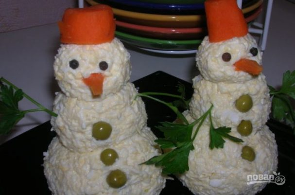 """Закуска """"Снеговики"""" из сыра"""