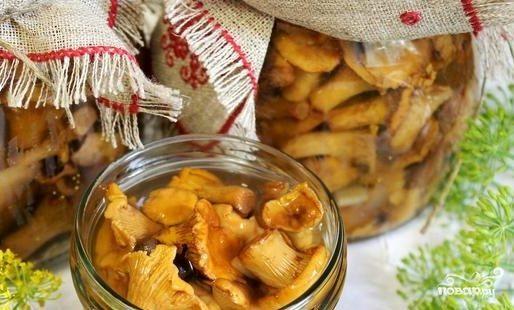 Лисички маринованные соленые