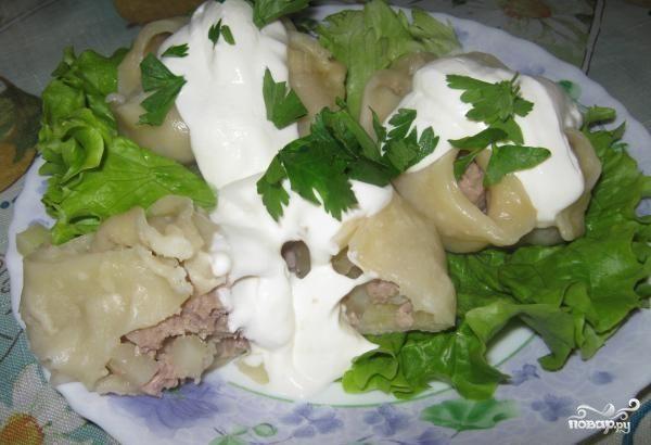 Манты с грибами и картошкой
