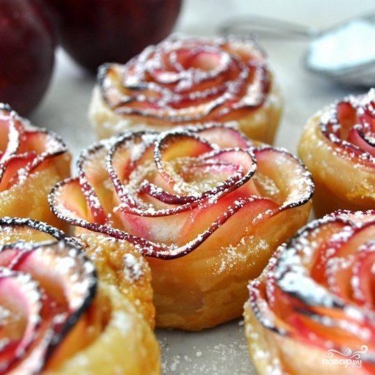 Розы из слоеного теста с яблоками рецепт пошаговый 15