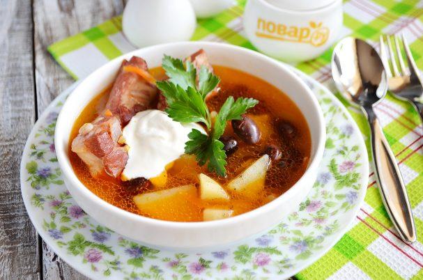 Суп с копченными ребрышками для согрева