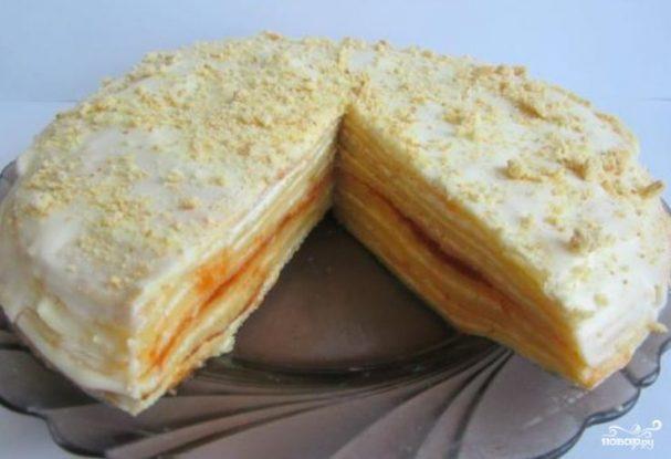 Блинный торт с творогом и сметаной