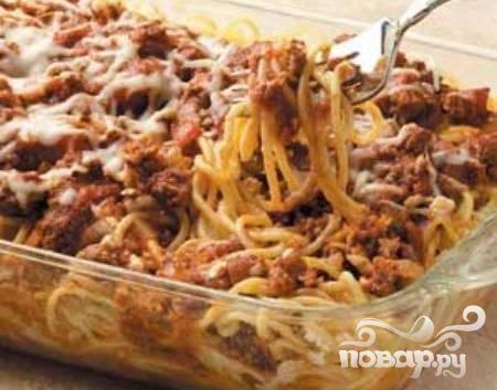 Запеченные спагетти с болгарским перцем и сыром