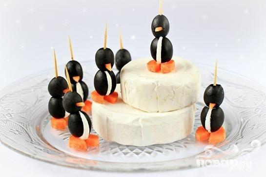 Пингвинчики из оливок и сыра