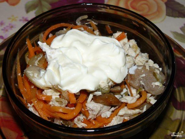 """Салат """"Обжорка"""" с грибами"""
