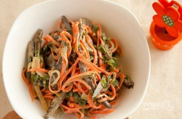 Салат из печени с морковью