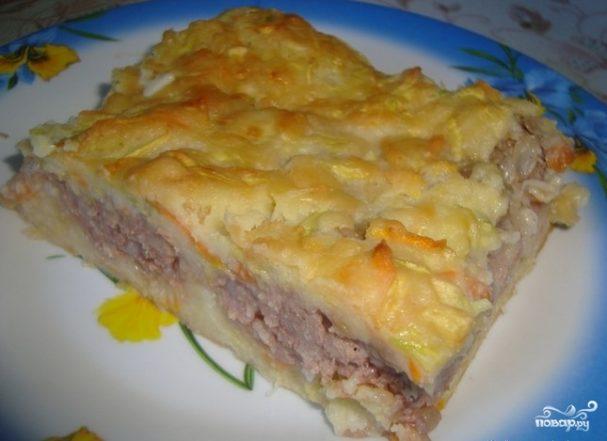 кабачковый торт с сыром и фаршем