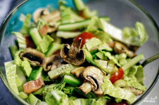 Свежий салат с семгой