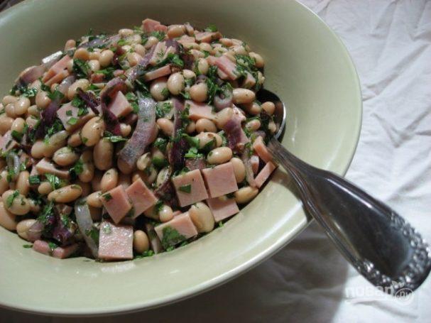 рецепты салатов с фасолью и ветчиной с фото