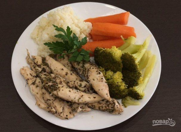 Куриная грудка с овощами в мультиварке
