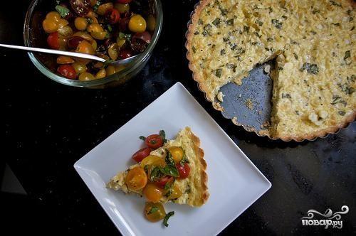 Тарт с кукурузой и базиликом