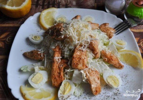 Салат с сулугуни и курицей