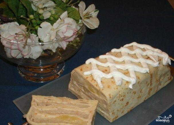 Блинный торт с яблоками