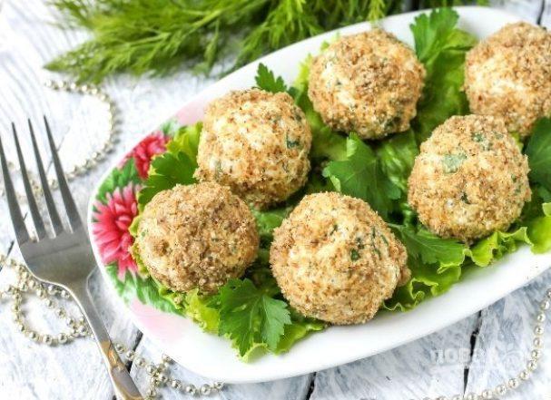 Мятные сырные шарики с орехами