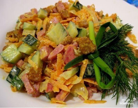 салаты с полукопченой колбасой рецепты