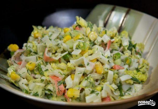 классический салат с кукурузой и крабовыми палочками рецепт с фото пошагово