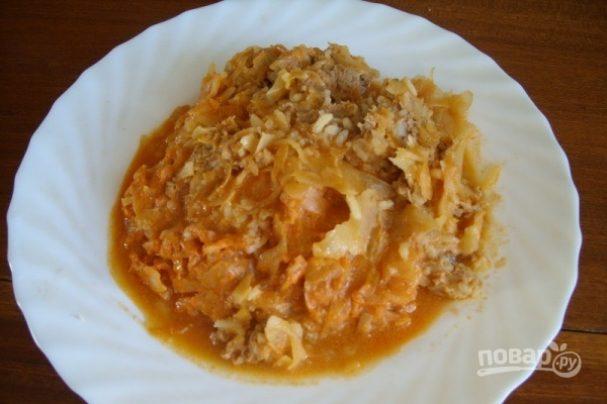 Тушеная капуста со сметаной и рисом