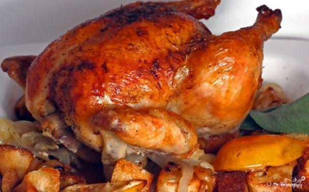 курица запеченная целиком в рукаве в духовке рецепт