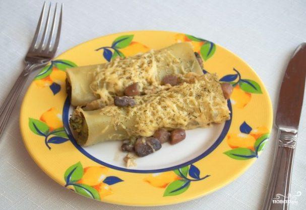Каннеллони с сыром и грибами