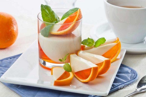 Апельсиновый десерт с желатином